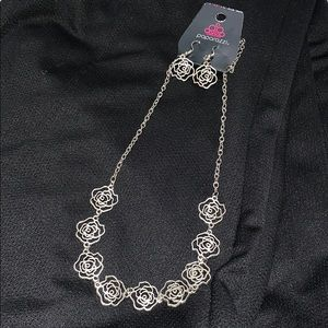 Silver Roses Necklace & Earrings Set